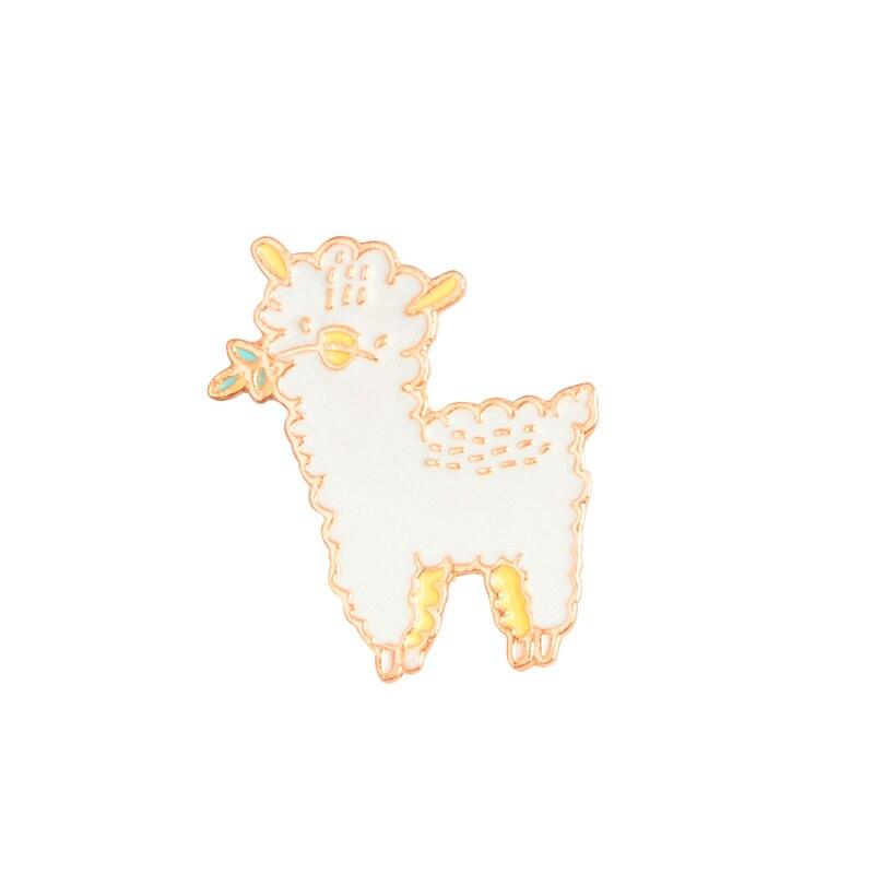 Little sheep Enamel pins Animal lovely alpaca Brooch Button Pin Denim Jeans Lapel Badge Cartoon Jewelry Gift for Kids girls
