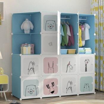 Modern simple cartoon children s wardrobe assembly baby storage cabinet bedroom furniture portable closet modern baby