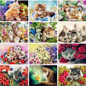 Diy pintura diamante gato na flor animal imagem redonda diamante kit pintura acrílica na lona arte da parede pintados à mão decoração casa presente