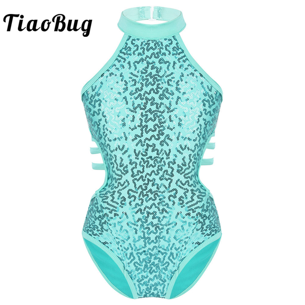 TiaoBug Kids Dancewear Sleeveless Sparkly Sequins Cutout Back Strappy Waist Gymnastics Leotards For Girls Ballet Dance Costume