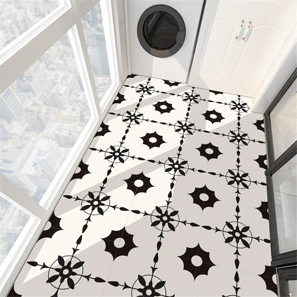 Creative Black Bat Pattern White Floor Tile Sticker For Bedroom Kitchen Decor Decal Self Adhesive Waterproof Diy Pvc Mural Wall Stickers Aliexpress