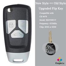 KEYECU – porte-clés télécommande à 2 boutons, 433MHz, ID46 ou ID48, mis à niveau, pour Chevrolet Spark 2013, Aveo 2009 2010 – 2016