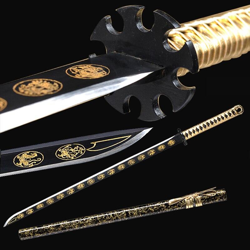 New Katana Japanese Sword Handmade Forged Steel Color Blade Samurai Swords Cosplay Weapon Props Golden Wooden Sheath Sharp