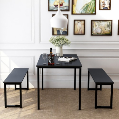 US $239.08 35% OFF|3 Piece Dining Table Set with Two Benches, Kitchen  Contemporary Home Furniture on AliExpress
