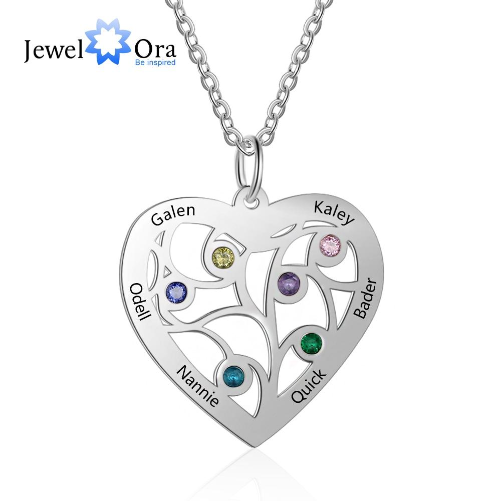 Collar de corazón de árbol de la vida personalizado con 6 piedras de nacimiento grabadas, nombres de familia, colgante de acero inoxidable, regalo de joyería (NE103181)