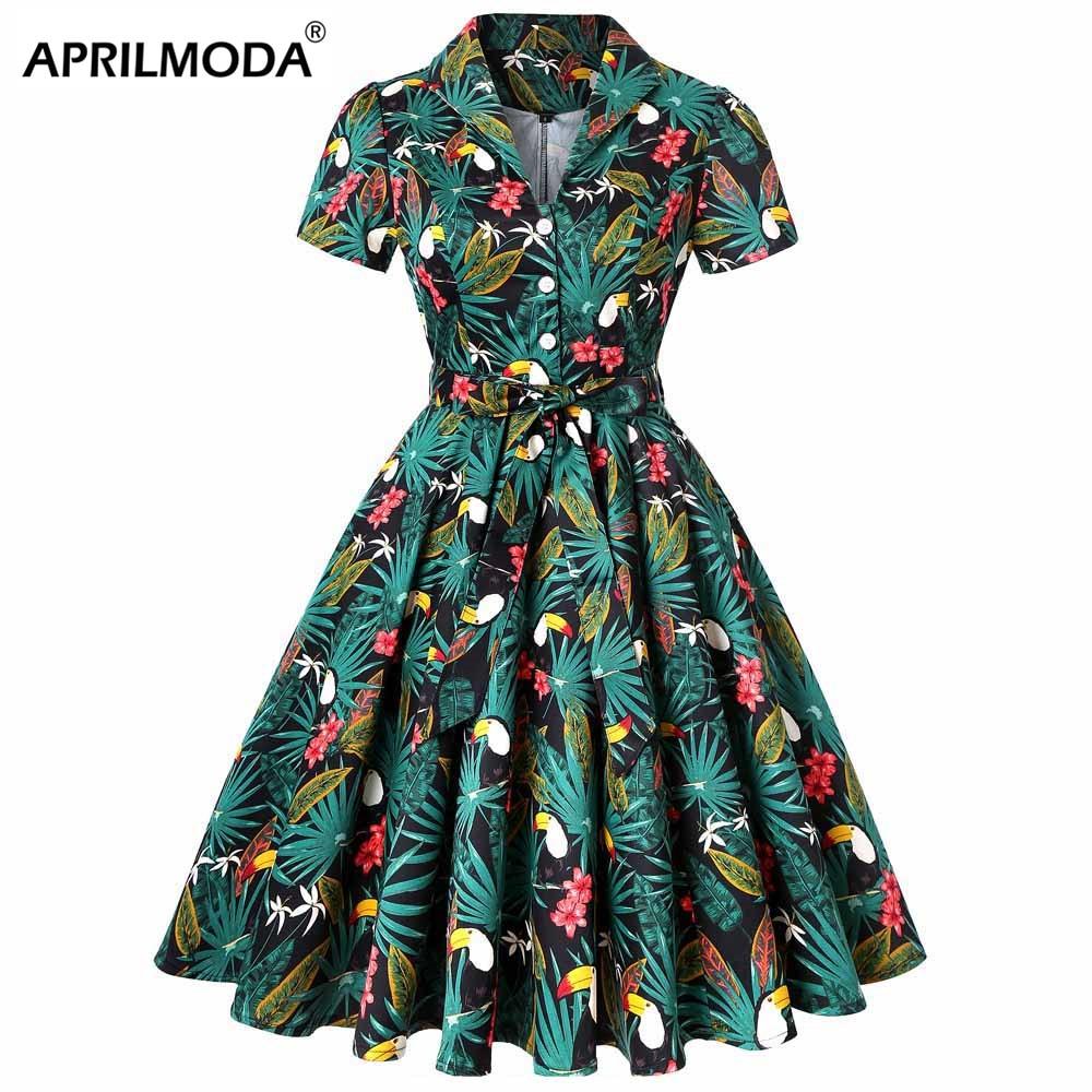 Parrot Animal Printed Palm Flower 50s 60s Vintage Dress Plus ...