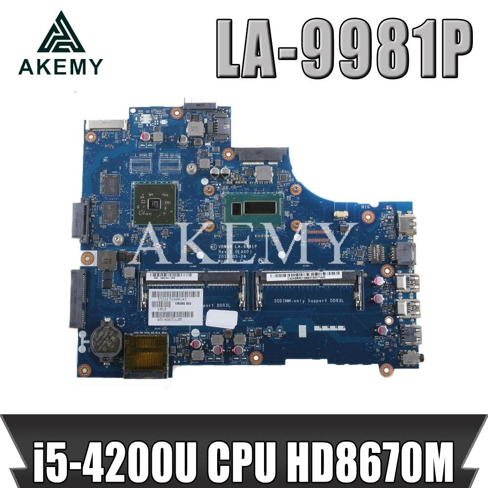 AKEMY VBW00 LA-9981P материнская плата для For DELL 15R 3537 5537 материнская плата для ноутбука i5-4200U процессор HD8670M оригинальная тестовая материнская плата