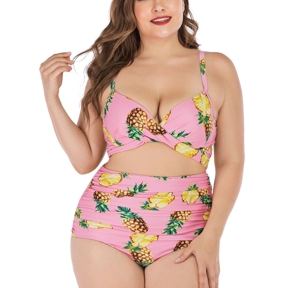 Costume Da Bagno Bikini Fiori Vita alta Fascia Plus Size Swimwear Swimsuit XXL