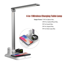 LED Table Lamp 4 In 1 Qi Wireless Charger Reading Led Desk Lamps Touch Eye Protection For Mobile Watch Earphone Charger все цены