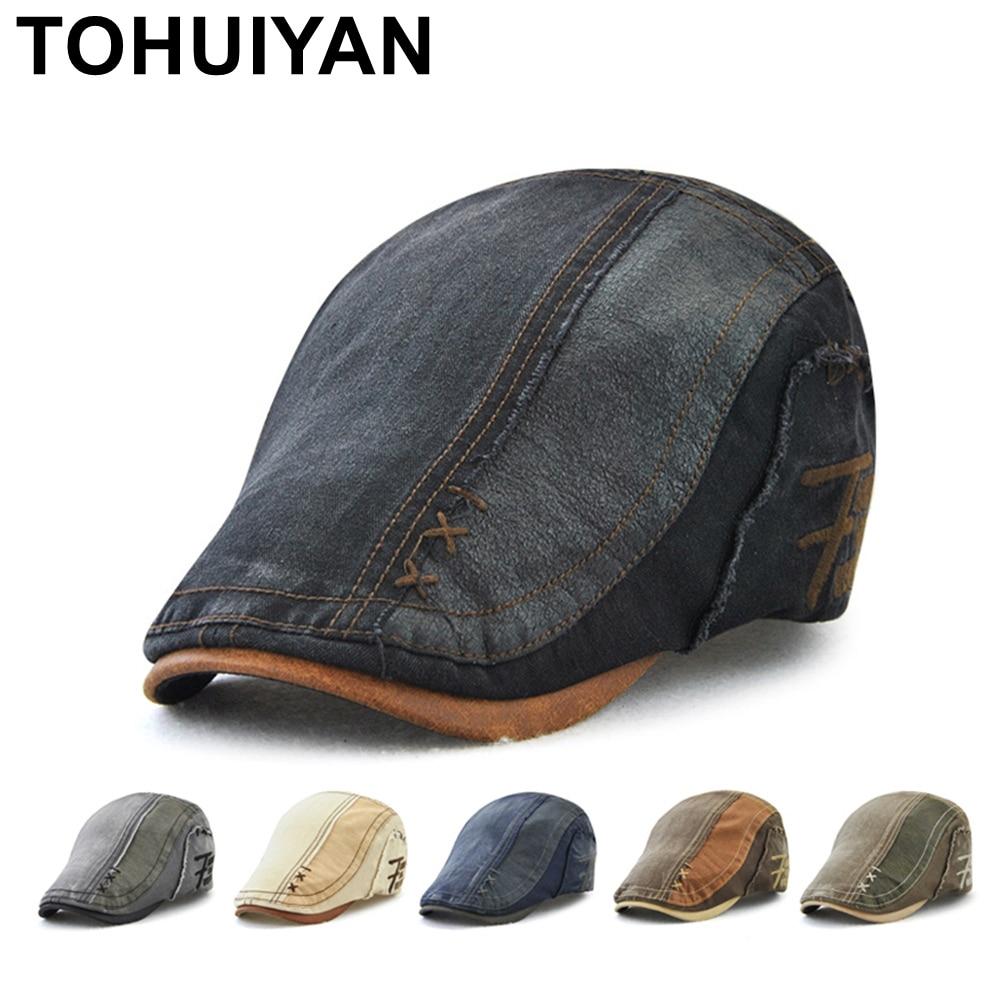 TOHUIYAN Classic Newsboy Cap Men Hat Vintage Cotton Gatsby Caps Casual Baker Boy Hat Casual Boina Flat Cap For Man Chapeau Homme