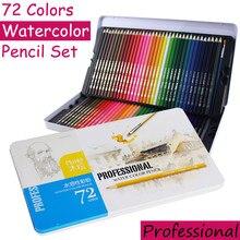 Crayon De Couleur professionnel Soluble dans l'eau, ensemble De 72 couleurs pour aquarelle, fournitures scolaires d'art