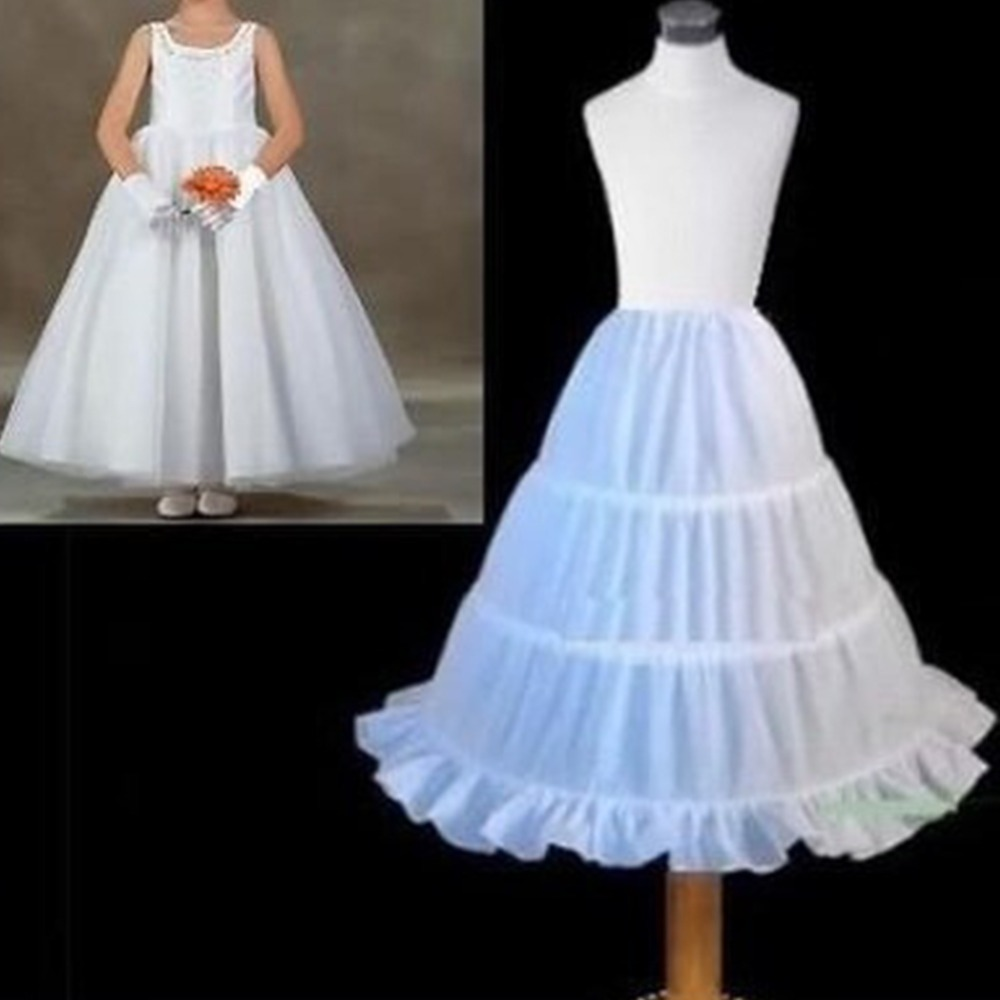 3 Hoops White A-Line Skir Top Quality Petticoat Child Made Flower Girl Dress Puffy Child Underskirt Elastic Waist