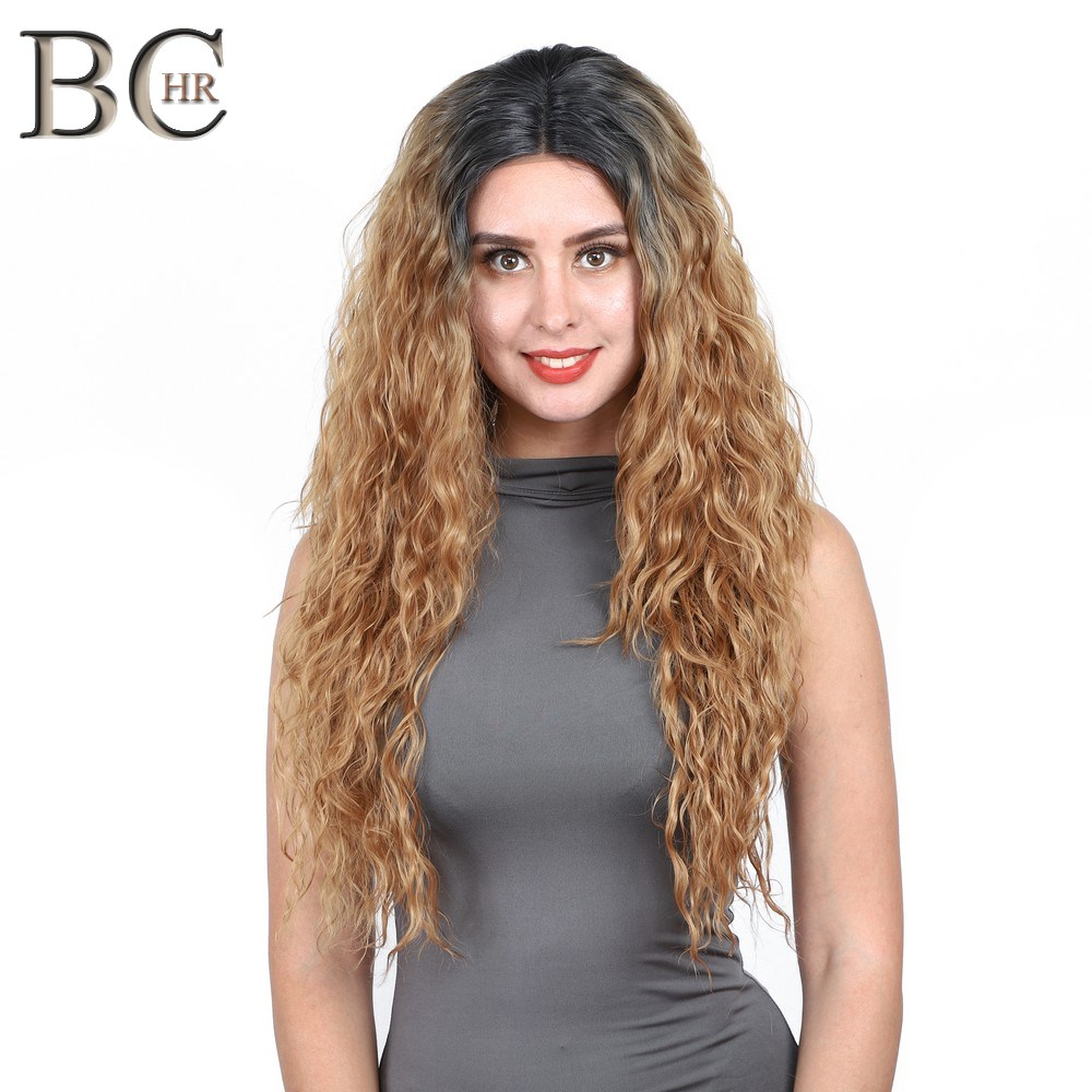 """BCHR Long Curly 30"""" Blonde Ombre Dark Roots Lace Front Wig Natural Hairline Heat Resistant Synthetic Hair Wigs For Women"""
