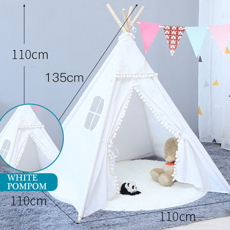 1.35M Large Teepee Tent Cotton Canvas Wigwam Children's Tent Kids Play House Girls Game House India Triangle Tent Room Decor