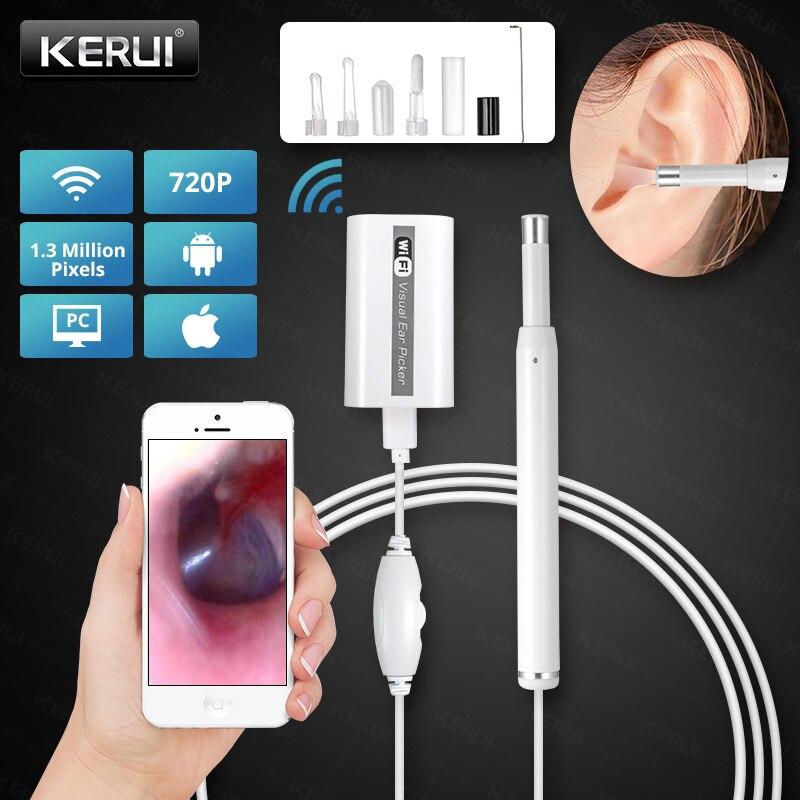 KERUI In Ohr Reinigung Endoskop USB WIFI Visuelle Ohr Löffel Mini Kamera 720P Ohr Picker Ohr Wachs Entfernen Otoskop für Android IOS
