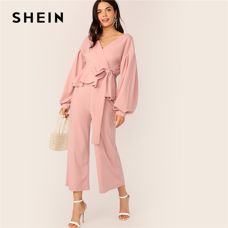 SHEIN Pleated Lantern Sleeve Wrap Top And Culotte Wide Leg Pants Two Piece Set Women Autumn Elegant Solid Ladies Matching Sets