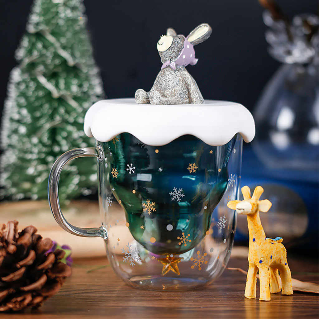 Creative Double-Layer Glass Christmas Tree Star Water Cup explosion-proof Insulation Mug Christmas gifts design Water cup