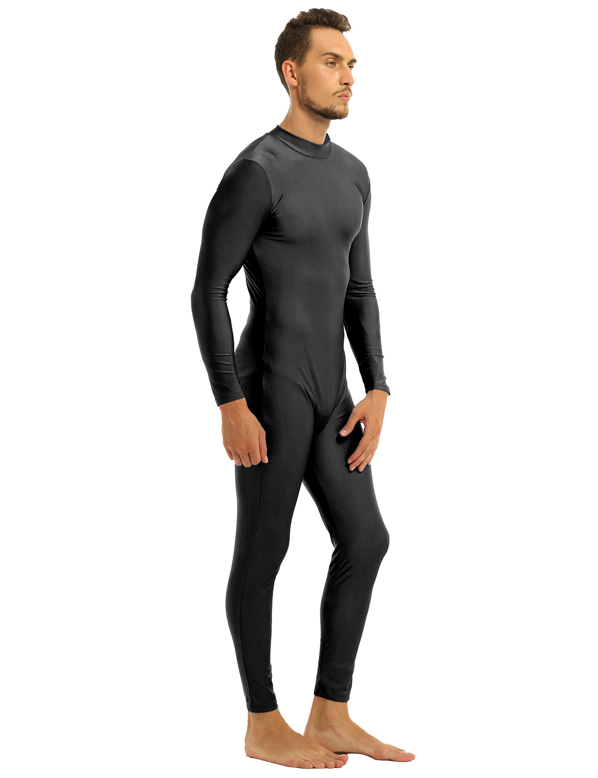 Mens Well Fit One Piece Leotards Long Sleeves Skinny Full-body Catsuit Adult Lycra Dancewear Bodysuit Gymnastics Workout Unitard 17