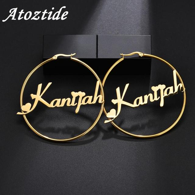 Atoztide Personalized Name Stainless Steel Letter Earrings For Women 3 Color Custom Name Cricle Earrings Weddings Party Jewelry