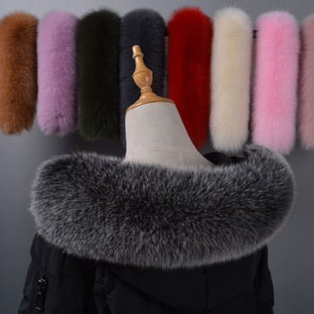 Fox fur collar winter women's real fox fur warm and cold protection multicolor down coat universal hat strip image