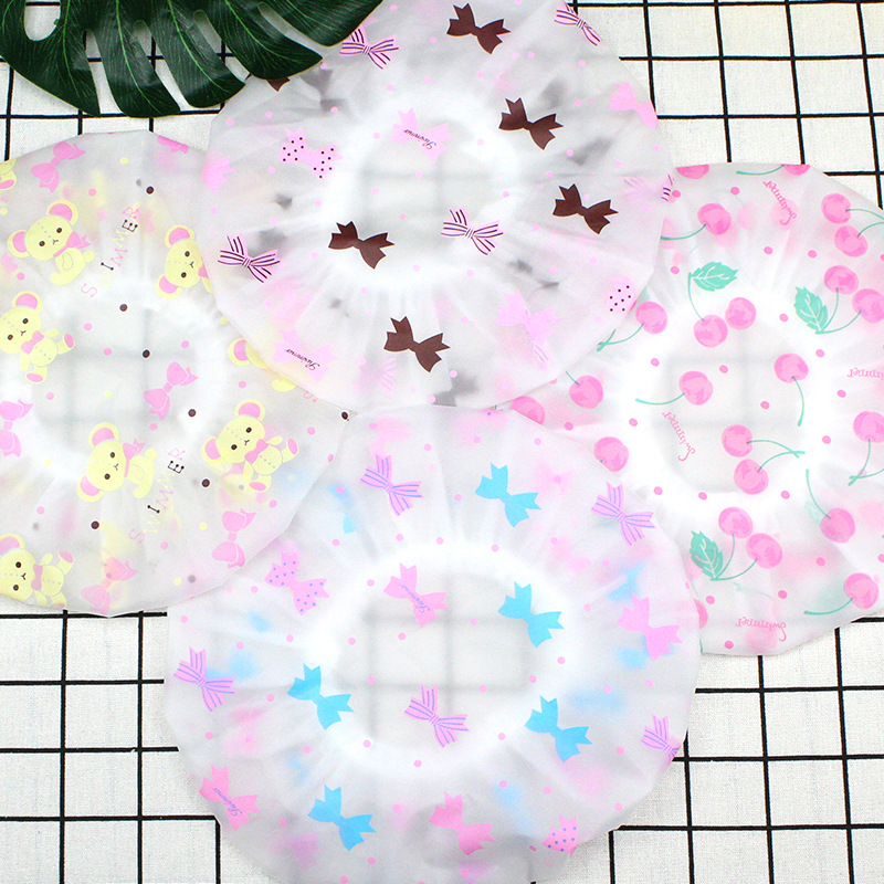 1PC Color Dot Waterproof Shower Cap Thicken Elastic Bath Hat Bathing Cap For Women Hair Salon Bathroom Products