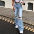 2XL расклешенные джинсы женские отверстия Рваные Джинсы выдалбливают Высокая талия с застежкой-молнией синего джинсового цвета черные джин...