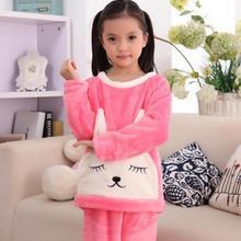 Коралловый флис детские пижамы комплект одежды для маленьких мальчиков и девочек ночное белье, пижама Infantil InvernoChildren одежда для сна футболка для детей пижама с кроликами