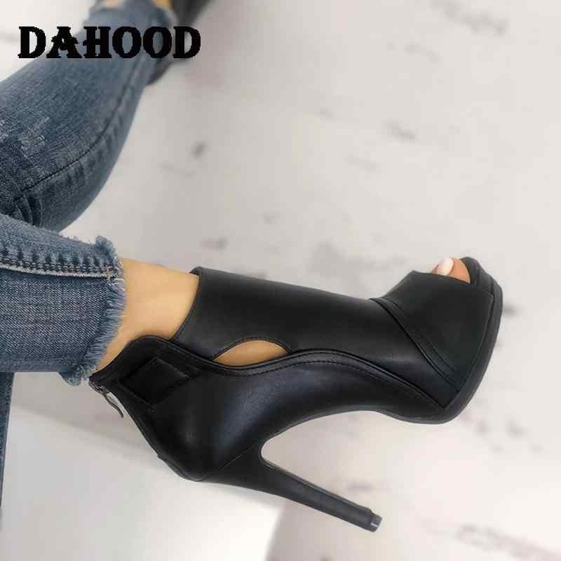 Dahood Vrouwen Hoge Hak Schoenen Nieuwe Sexy Dunne Hak Peep Toe Dames Schoenen Zwart Hollow Out Party Kantoor Bruiloft Vrouwelijke schoenen