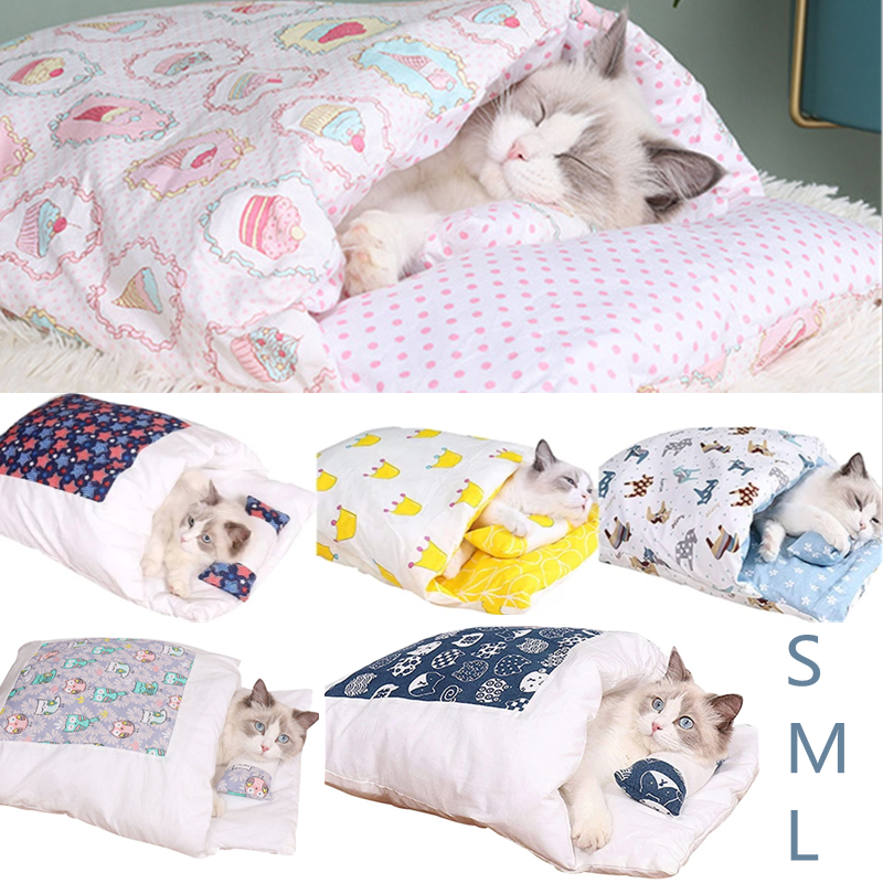 Removable Dog Cat Bed Cat Sleeping Bag Sofas Mat Winter Warm Cat House Small Pet Bed Puppy Kennel Nest Cushion Pet Products 1