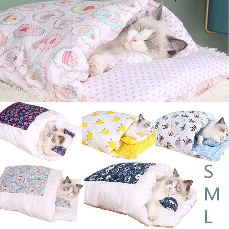 Amovible chien chat lit chat sac de couchage canapés tapis hiver chaud chat maison petit lit pour animaux de compagnie chiot chenil nid coussin produits pour animaux de compagnie |