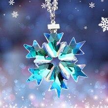 Car Interior Pendant Crystal Snowflake Decoration Hanging Ornaments Crystal Suncatcher Snowflake Trim Christmas Gifts Figurine snowflake