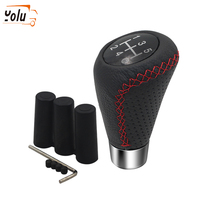 цена на YOLU Universal Car Gear Shift Knob Head Manual Shifter Lever Stick Red Black Stitche Aluminum + Leather Grea Shift Knob