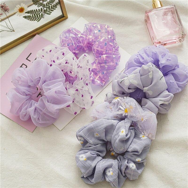 Новинка 2020, женские фиолетовые резинки для волос в виде маленькой маргаритки, резинка для волос с цветочным рисунком для девочек, эластична...