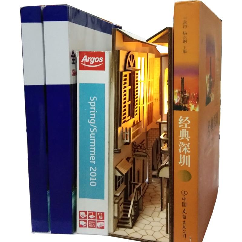 DIY Book Nook Wooden Bookend Bookshelf Inserts Art Bookcase European Town Building With Light Kit Handmade Craft Birthday Gift