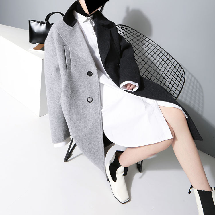 [EAM] 2020 New Spring Lapel Long Sleeve Solid Color Black Gray Split Joint Loose Big Size Jacket Women Fashion JC969 57