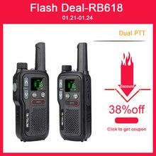 Retevis rb618 mini walkie talkie recarregável walkie-talkies 1 ou 2 pces ptt pmr446 rádio em dois sentidos portátil de longa distância para a caça