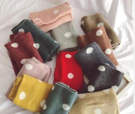Cute Dot Cotton Winter Baby Neck Ring Scarf  Children Girls Boys Knitted Wool O-Scarves Kids Solid Color Warm Snood