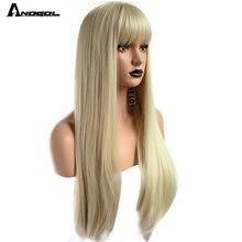 Anogol 고온 섬유 Peruca 긴 스트레이트 플래티넘 금발 머리 가발 오렌지 합성 가발 여성을위한 프린지와 코스프레