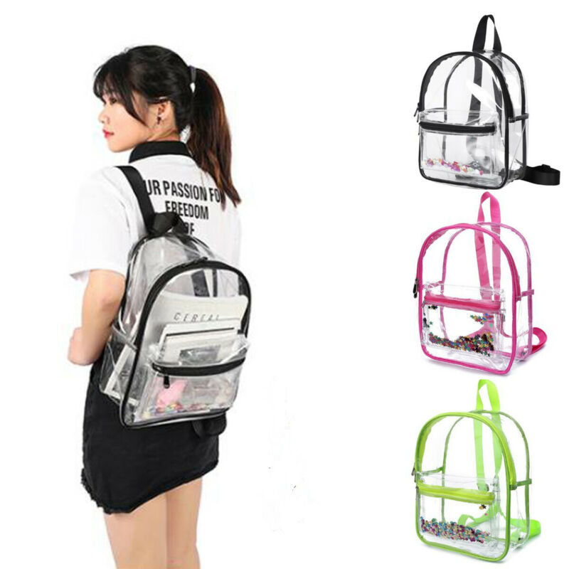Transparent Bags Clear PVC Backpack Travel School Bag Rucksack Security Unisex