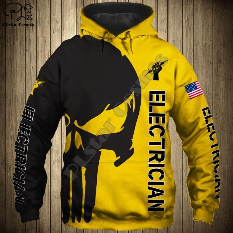 Men Women Electrician Punisher Skull US Flag 3d Hoodies Jacket Sweatshirts Zipper Casual Long Sleeve Pullover Tracksuit Coat