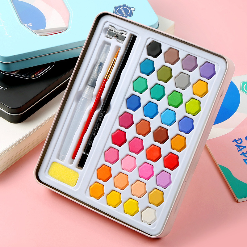 High Quality 36 Colors Solid Watercolor Paint With Wooden Pole Brush Pen Set Water Brush Gouache Pigments School Art Stationery 1