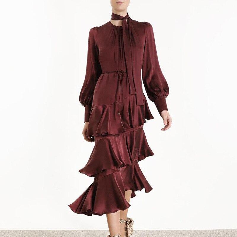 Fall 2019 New Dress Drape Long Sleeve Irregular Ruffled Hem Lace Dress Tide Lantern Sleeve O Neck Sashes Sexy Dress Women in Dresses from Women 39 s Clothing