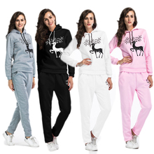 Autumn Hooded Sweatshirt Two Piece Sports Suit Christmas Tree Print Large Size Women Loose Trousers