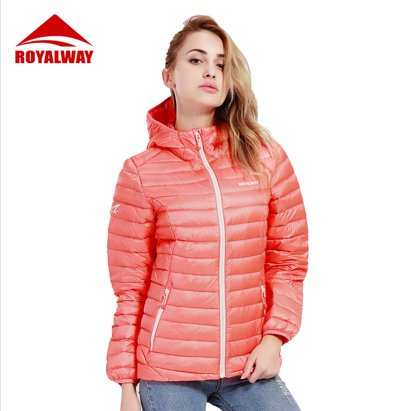 ROYALWAY Women Fashion Light Down Jacket Coat 90% Down Content White Duck Down Coats Outdoor Down Jackets RFDL4187G