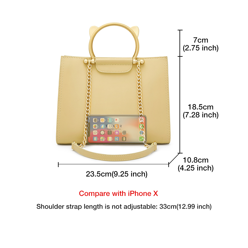 Foxer Maky Women Leather Chain Tote