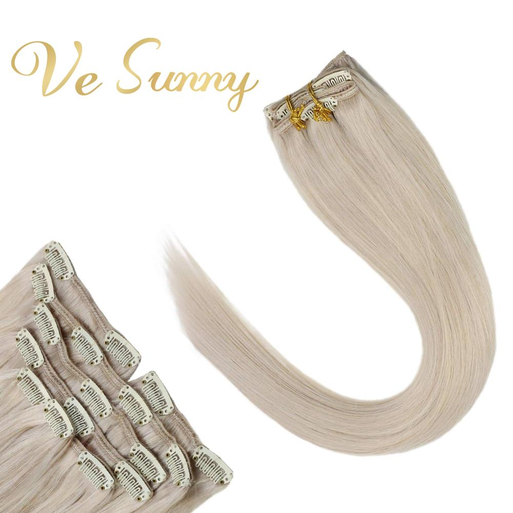 VeSunny Double Weft Clip In Hair Extensions Human Hair European Hair For White 7pcs Clip On Extension #60 Light Blonde 100-120gr