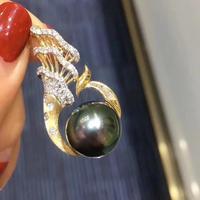 D110 Fine Jewelry 925 Sterling Silver Natural Ocean Sea Pearl 12 11mm Pendants Necklaces for Women FIne Pearls Pendants