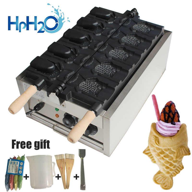 Listrik Komersial 5 Pcs Terbuka Ice Cream Cone Taiyaki Pembuat Bentuk Ikan Mesin Pembuat Waffle Taiyaki Plat Besi Kue oven