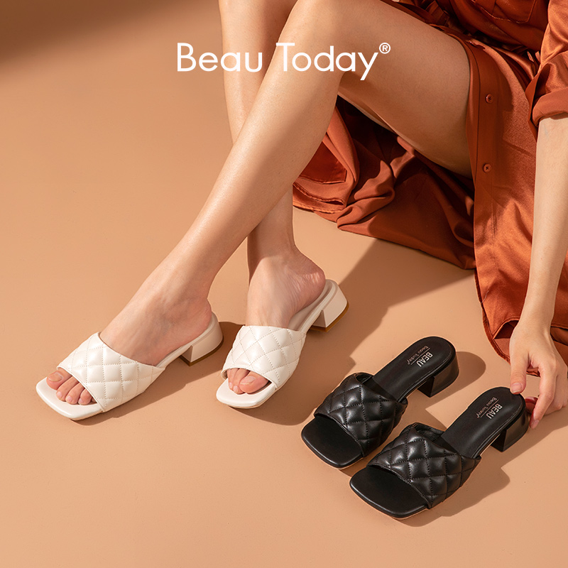 BeauToday Summer Slippers Women PU Diamond Square Peep Toe Mules Fashion Ladies Outdoor Slides Flat Shoes Handmade 35069