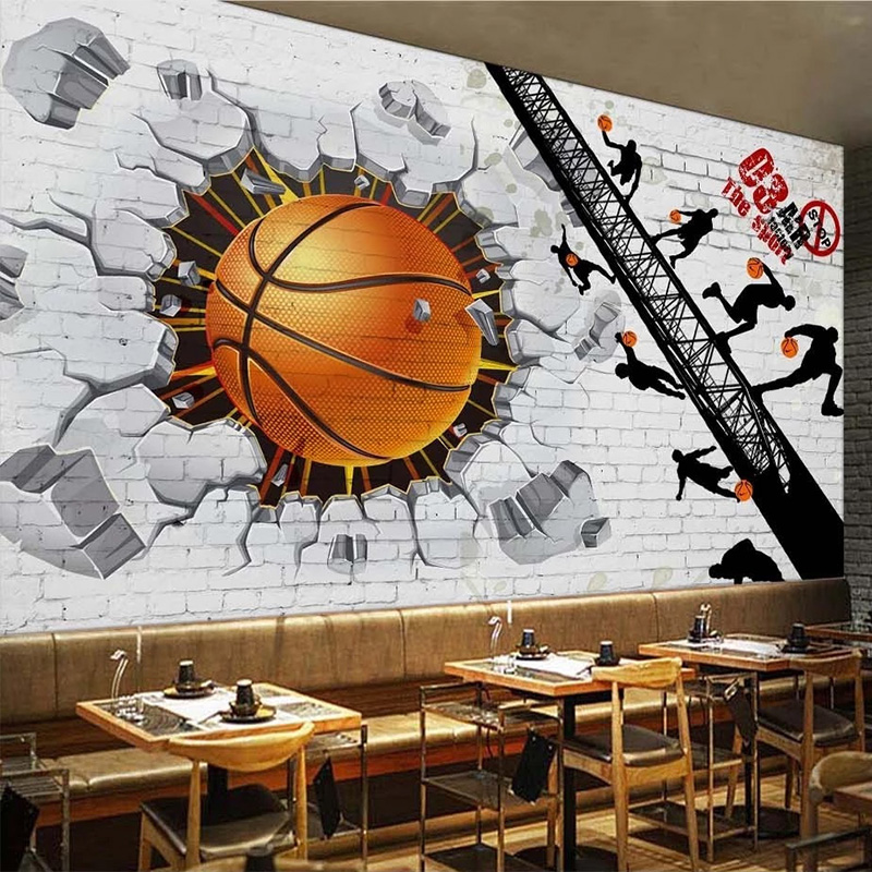 Custom 3D Wallpaper Modern White Brick Wall Basketball Retro Bar Cafe Restaurant Background Wall Papers Papel De Parede Frescoes
